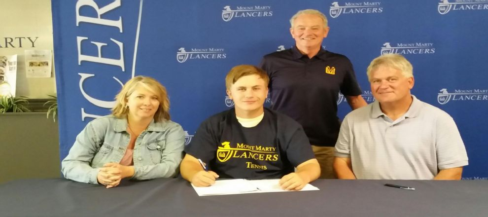 South Dakota state consolation champ Alex Lehner signs with Mount Marty College for the inaugural Lancer Tennis season